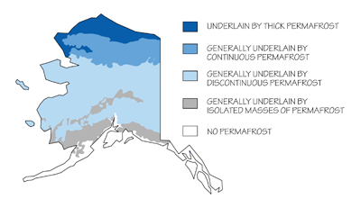 Figure 8.15: The location (and types) of permafrost in Alaska.