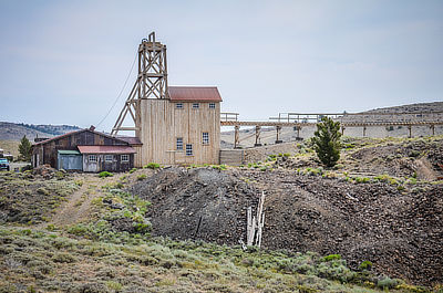 Figure 5.19: The Carissa Gold Mine, which operated from 1867 to 1954. In 2003, the state of Wyoming restored the mine and mill as a historic attraction.