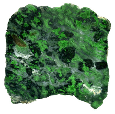 Late Triassic chromian jade, which contains both pyroxene and amphibole.