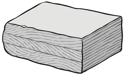 Cross-beds form as flowing water or wind pushes sediment downcurrent, creating thin beds that slope gently in the direction of the flow as migrating ripples. The downstream slope of the ripple may be preserved as a thin layer dipping in the direction of the current, across the natural flat-lying repose of the beds. Another migrating ripple will form an additional layer on top of the previous one.