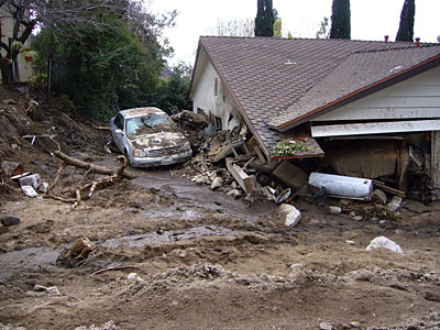 Figure 10.12: This debris flow occurred on February 6, 2010 in La Canada-Flintridge, California as a result of a flash flood generated in Mullally Canyon.