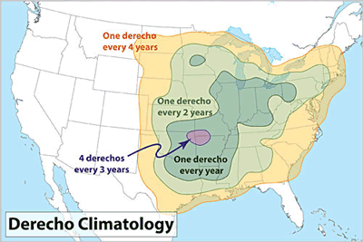 Figure 10.1: Derecho frequency in the continental US.