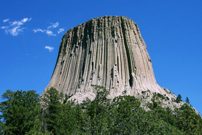 Figure 2.9: Devils Tower, a large intrusive igneous rock formation with well-developed columnar jointing, in Crook County, Wyoming.