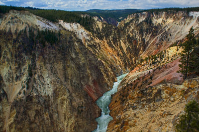 Figure 2.31: Brightly colored rhyolites are exposed in the Grand Canyon of the Yellowstone.