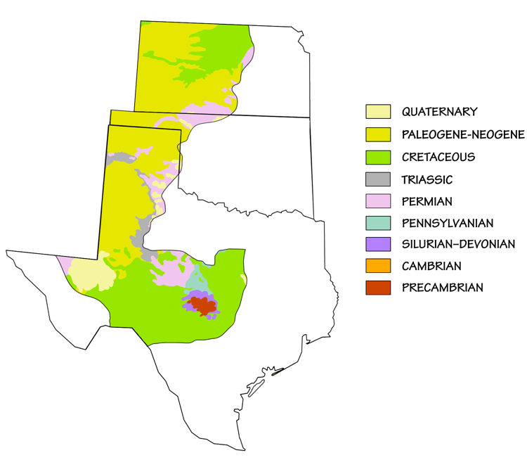 Figure 2.19: Generalized geologic map of the Great Plains.