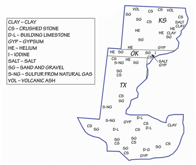 Figure 5.17: Principal mineral resources of the Great Plains.