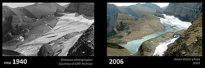 Figure 6.16: An example of glacial recession in Glacier National Park: Grinnell Glacier, as seen in 1940 and 2006.