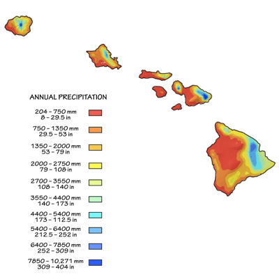 Figure 9.18: Mean annual rainfall in the Hawaiian Islands. Northeast trade winds combine with topography to create a strongly asymmetrical rainfall distribution. Leeward (west) areas receive little rainfall while windward (east) slopes are some of the wettest places on Earth.