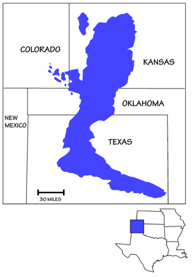 Figure 7.18: Extent of the Hugoton-Panoma gas field.