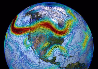 The polar jet stream over North America (shown in red). Warmer colors indicate regions of faster airflow.