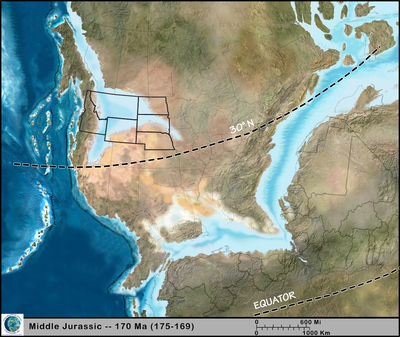 Figure 1.10: The Northwest Central US during the Jurassic, approximately 170 million years ago.