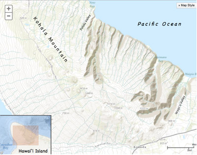 Figure 4.22: Topographic map of Kohala Mountain, Hawai'i Island. The windward side of Kohala is deeply incised by perennial streams while the leeward side remains mostly undissected. The line of cinder cones extending NW-SE across the summit of the mountain marks Kohala's ancient rift zone.