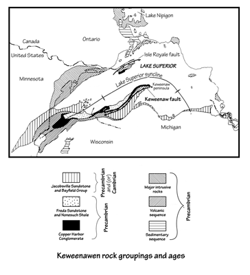 Figure 2.4: The geology around Lake Superior is perhaps the most complex in the Midwest. A variety of sedimentary, igneous, and metamorphic rocks representing more than a billion years of history are found within a few kilometers of each other.