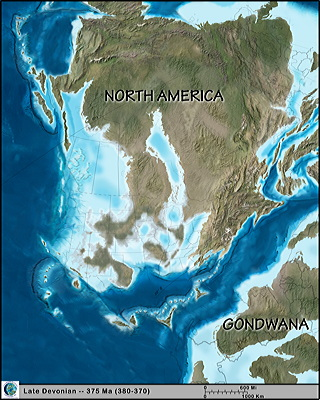 Figure 9.5: By the late Devonian (375 million years ago), the oceans between Gondwana and Euramerica had begun to close.
