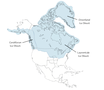 Figure 6.1: Southernmost extent of glaciation over North America, at a time when glaciers covered parts of northern Kansas and Missouri.
