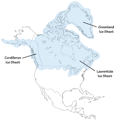 Figure 9.7: The maximum extent of the Cordilleran and Laurentide ice sheets across western North America and Alaska.