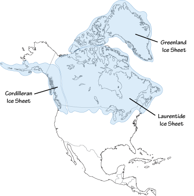 Fig 6.1: Extent of glaciation over North America at the Last Glacial Maximum.