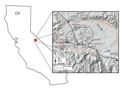 Figure 10.18: Extent and location of the Long Valley Caldera.