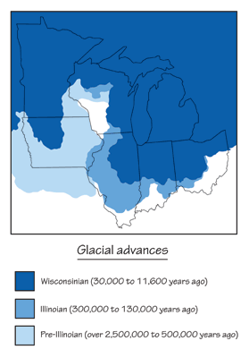 Figure 8.7: Extent of the glacial sheets in the Midwest.