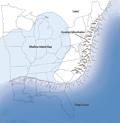 Figure 2.8: Much of the Midwest region was covered by an inland sea during the Mississippian and Pennsylvanian periods, with sediment being brought in from the erosion of the Acadian highlands to the east.