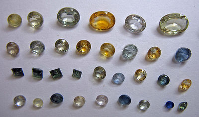 Figure 5.14: A variety of cut sapphires from Montana.