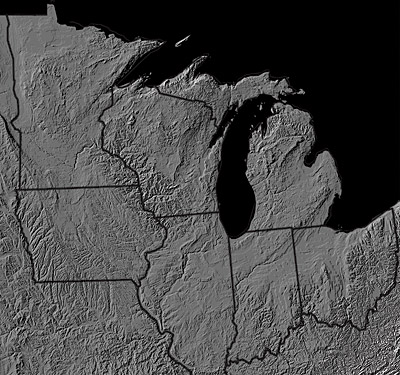 Figure 4.1: Digital shaded relief map of the Midwest.