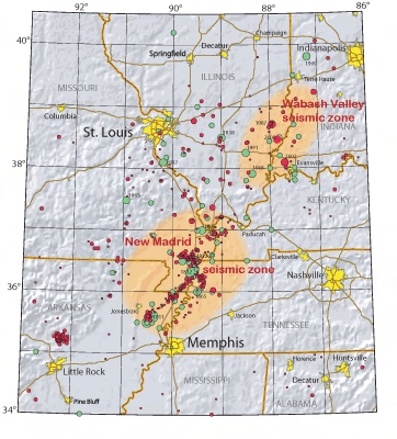 Figure 10.5: Earthquake events in the New Madrid and Wabash Valley seismic zones.