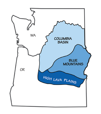 Figure 4.6: The three major divisions of the Columbia Plateau.