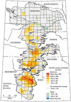 Figure 10.33: Water level change in the Ogalalla aquifer between 1950 and 2005.