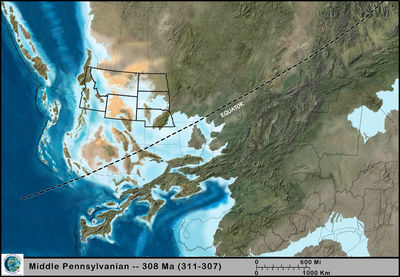 Figure 1.8: The Northwest Central US during the Pennsylvanian, approximately 208 million years ago.