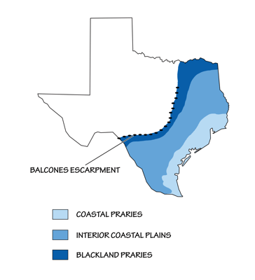 Figure 2.16: Physiographic map of Texas.