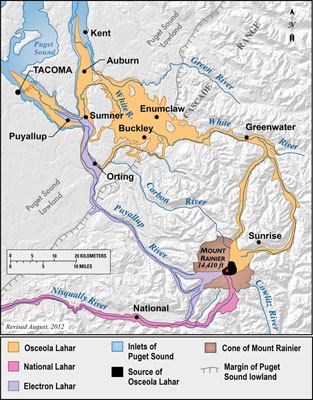 Figure 10.14: Lahar paths of Mt. Rainier. This map shows three major events that occurred in the last 10,000 years. Note how the lahars follow the river valleys.