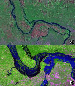 Figure 10.22: Confluence of the Mississippi and Missouri rivers, near St. Louis. A) 2002, during non-flooding. B) 1993, during the Great Mississippi and Missouri Rivers Flood.