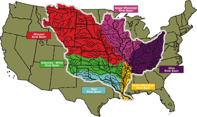 Figure 10.8: Major river basins of the continental US.