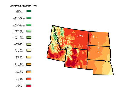 Figure 9.9: Mean annual precipitation for the Northwest Central States.