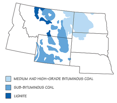 Figure 7.4: Coal-producing regions of the Northwest Central US. The Great Plains is a particularly significant coal producing area.