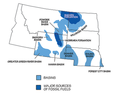 Figure 7.5: Sedimentary basins containing significant fossil fuel accumulations in the Northwest Central US.