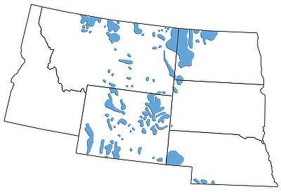 Figure 7.3: Petroleum-producing regions of the Northwest Central US.