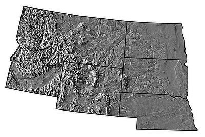 Figure 4.4: Digital shaded relief map of the Northwest Central States.