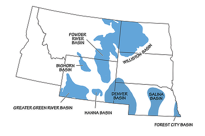Figure 2.25: Geologic basins of the Northwest Central US.