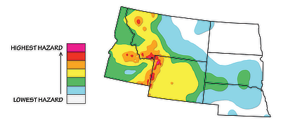 Figure 10.3: Seismic hazard map of the Northwest Central US, based on data in 2014.