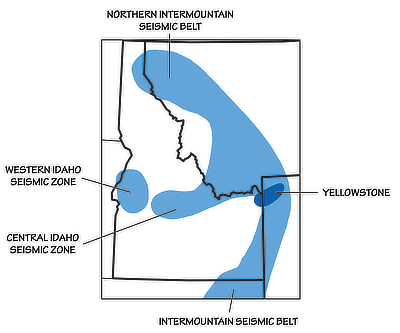 Figure 10.4: Major seismic belts and zones of the Northwest Central US.