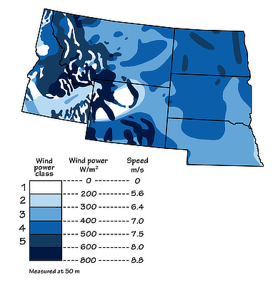 Figure 7.11: Wind energy potential in the Northwest Central US.