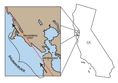 Figure 2.22: Geography of the Salinian block.