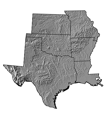 Figure 4.2: Digital shaded relief map of the South Central.