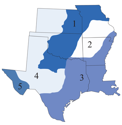 Figure 1.3: Geologic regions of the South Central.