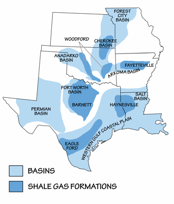 Figure 7.5: Sedimentary basins containing significant fossil fuel accumulations.