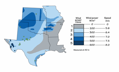 Figure 7.19: Wind speeds in the South Central US. Locations of the largest wind farms.