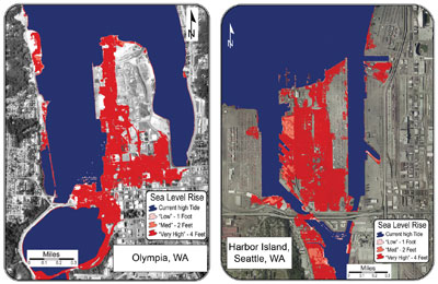 Figure 9.21: Maps showing portions of the cities of Olympia and Seattle, Washingrton that will be inundated if sea level rises by one, two, or four feet.