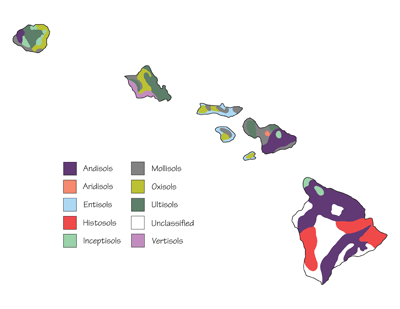 Figure 8.11: The dominant soil orders of Hawai'i.